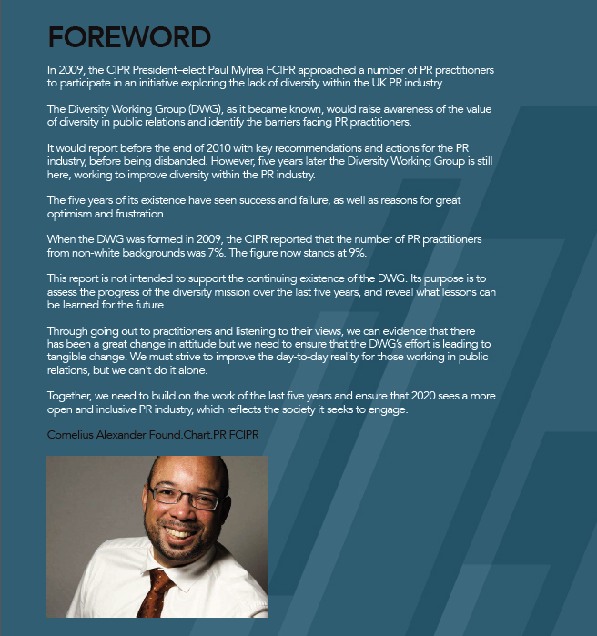 Foreword to diversity report